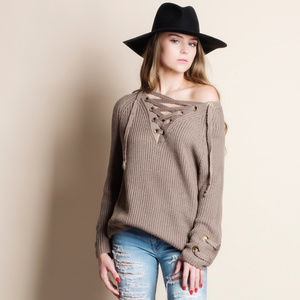 Lace Up Sweater Top